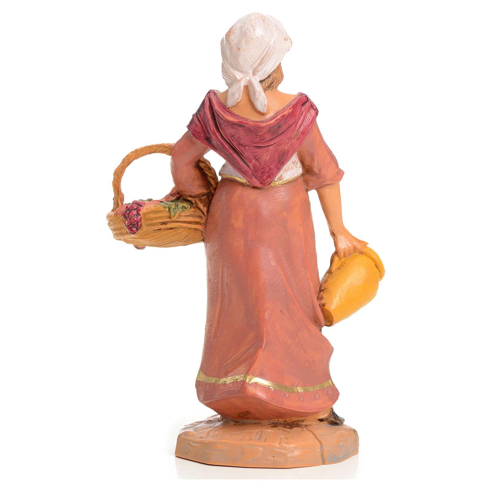 Señora con cesta de frutas 9,5cm Fontanini 4