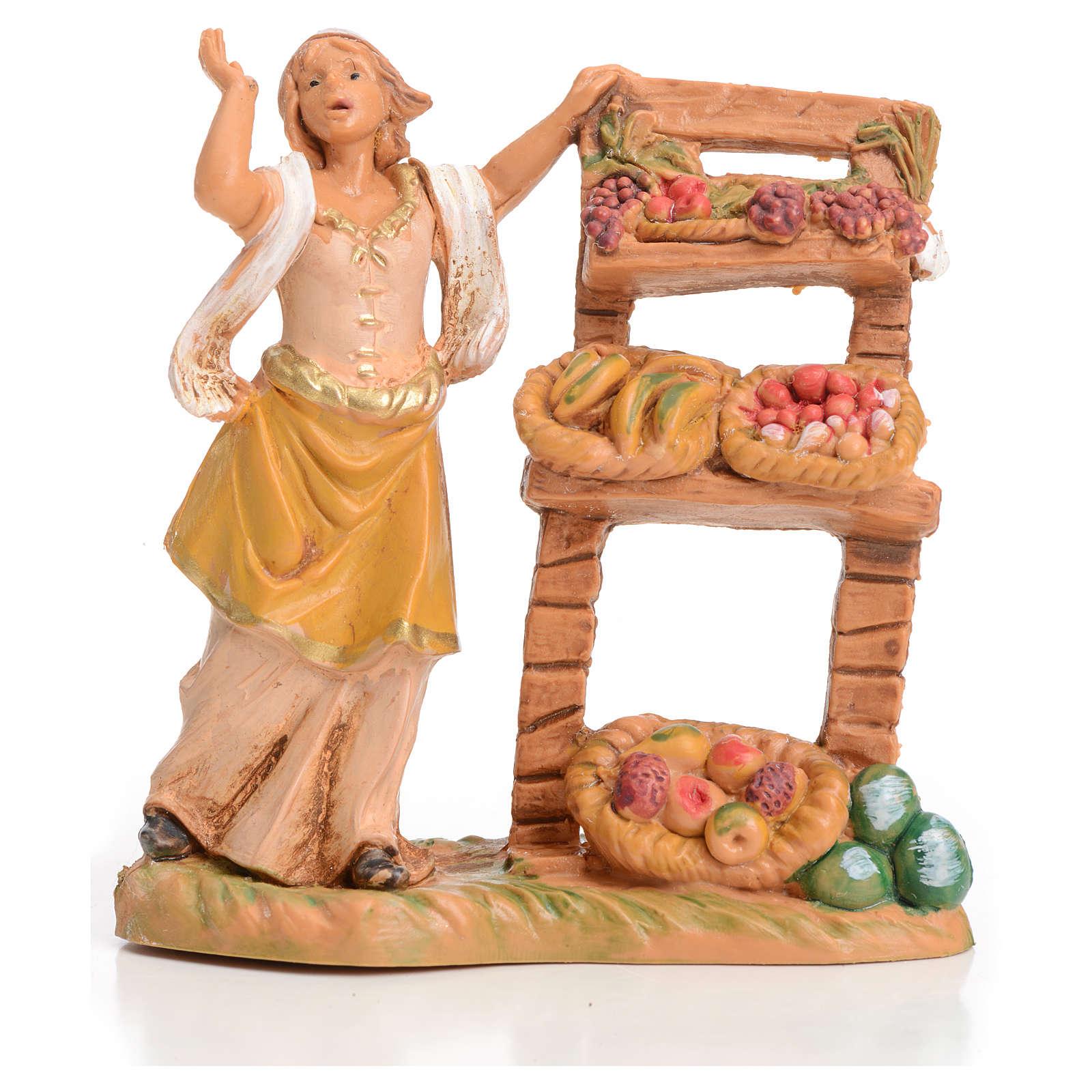Femme au banc de fruits crèche 6,5 cm Fontanini 3