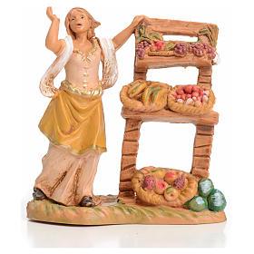 Femme au banc de fruits crèche 6,5 cm Fontanini s1