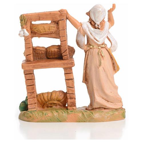 Femme au banc de fruits crèche 6,5 cm Fontanini 2