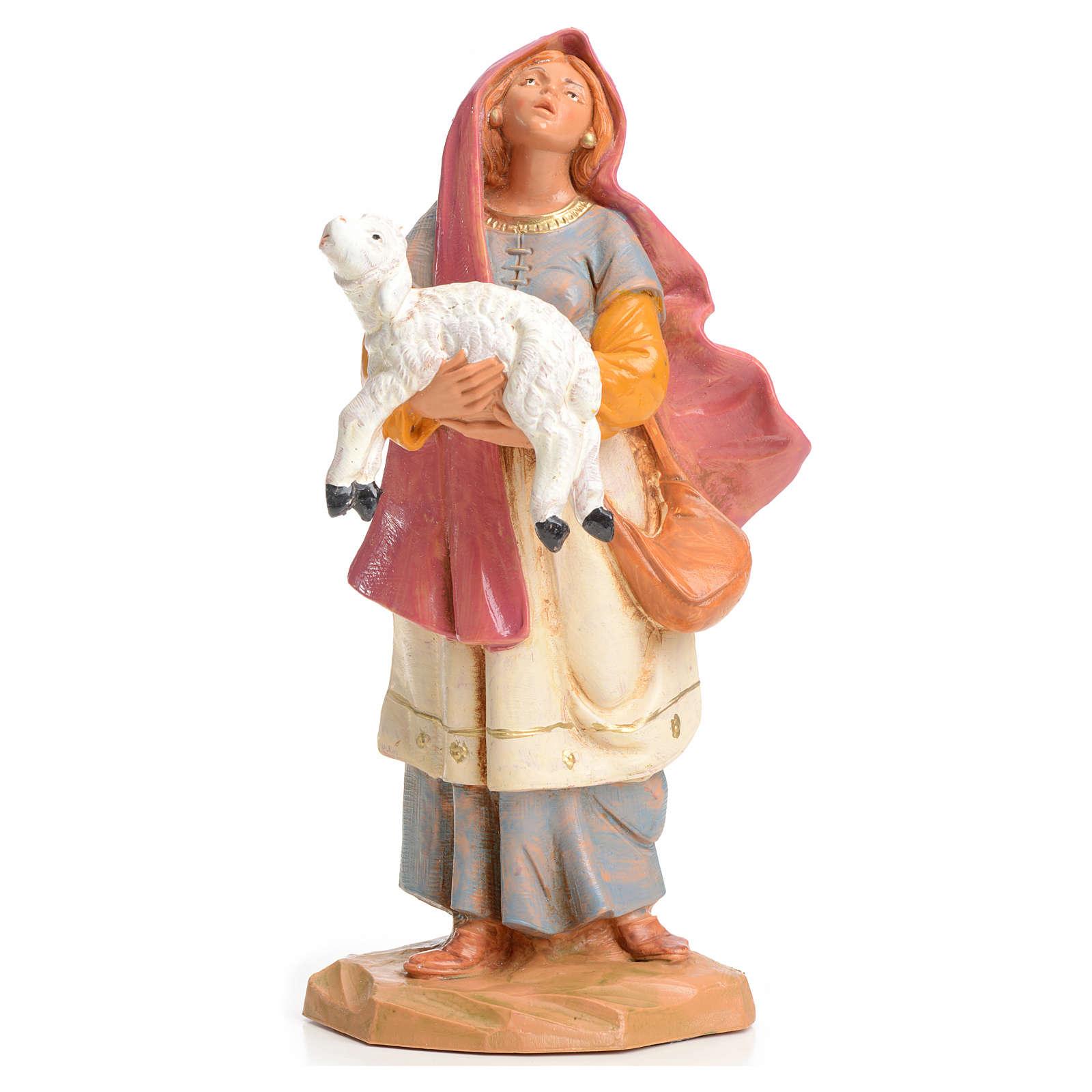 Mujer con cordero en las manos 15cm Fontanini 3