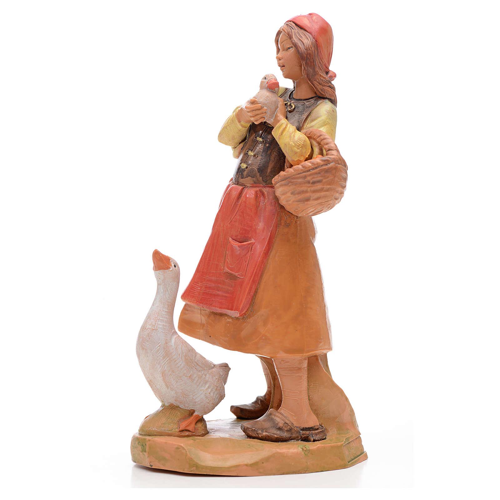 Fille avec oie crèche 17 cm Fontanini 4