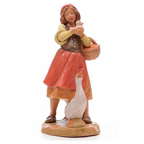 Fille avec oie crèche 17 cm Fontanini 1