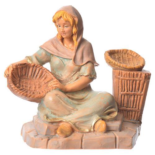 Pastorinha com cestas para Presépio Fontanini com figuras de altura média 9,5 cm 1