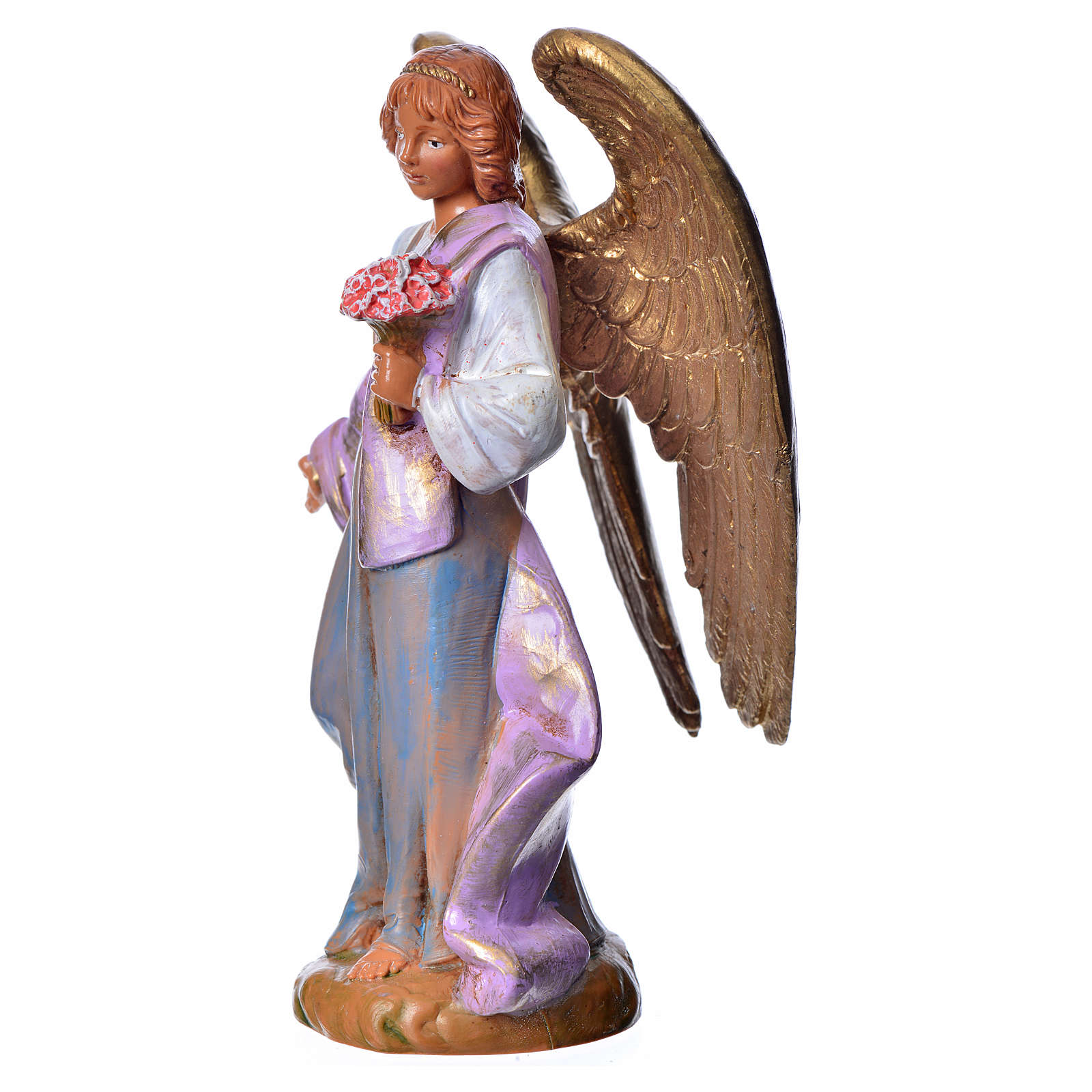 Ange avec anémones crèche Fontanini 12cm 3