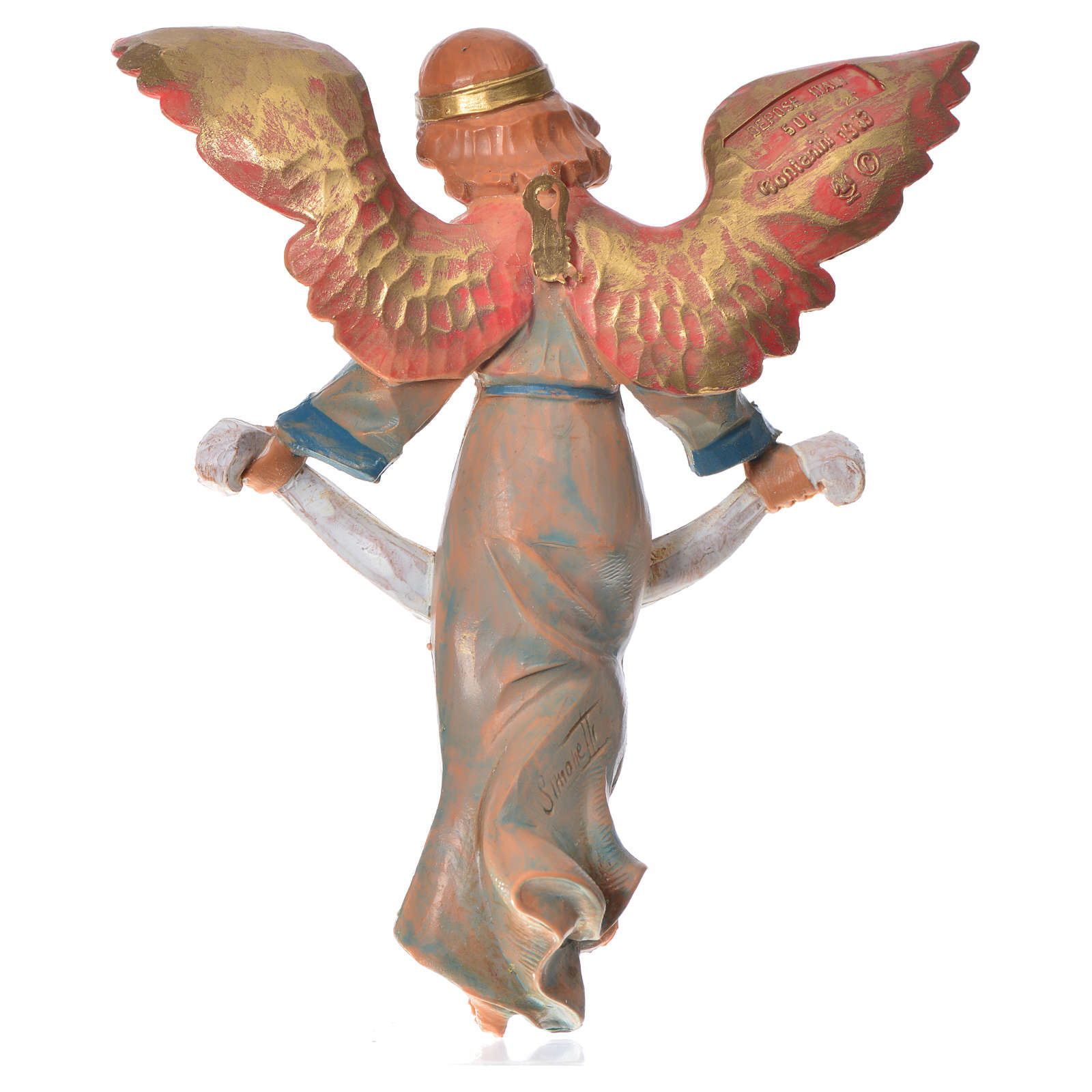 Ange de la gloire veste verte crèche Fontanini 17cm 3