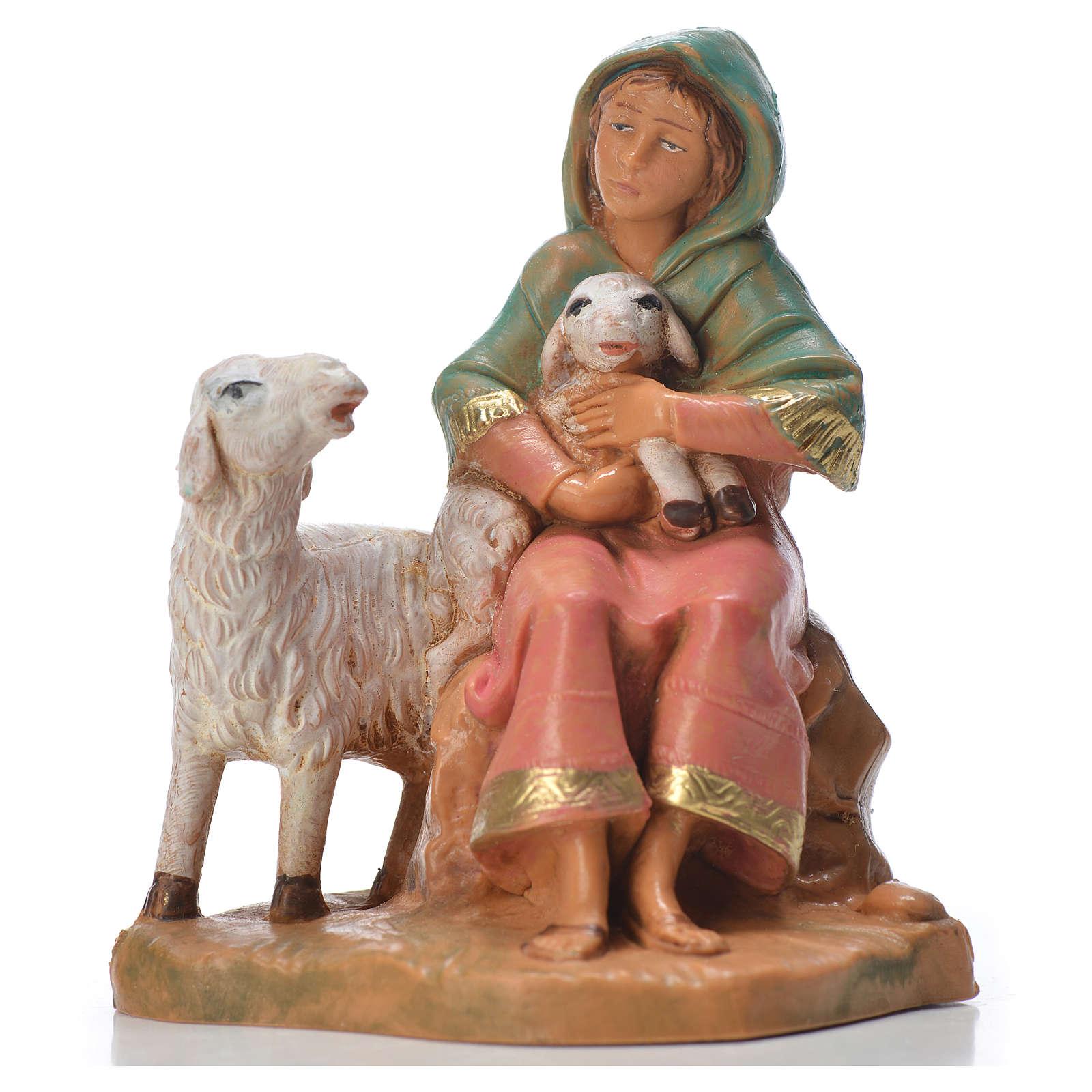 Pastorella con 2 pecore 9,5 cm Fontanini 3