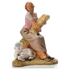 Statue per presepi: Pastorella seduta con pecora 19 cm Fontanini