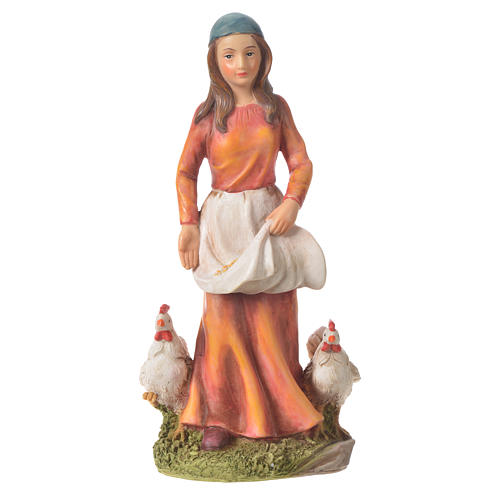 Nativity figurine, woman with hens, 30cm resin 1