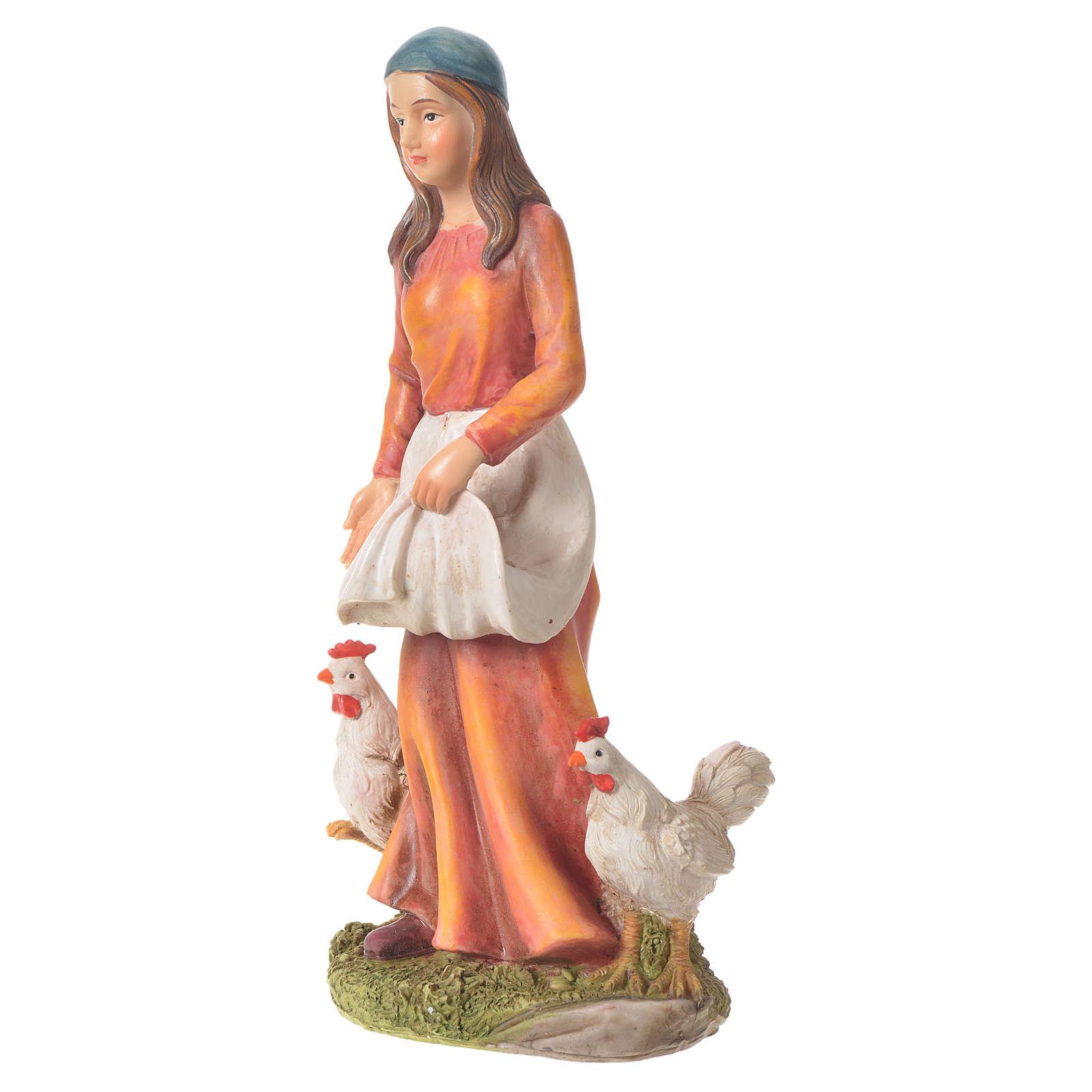 Femme avec poules 30 cm santon résine 3