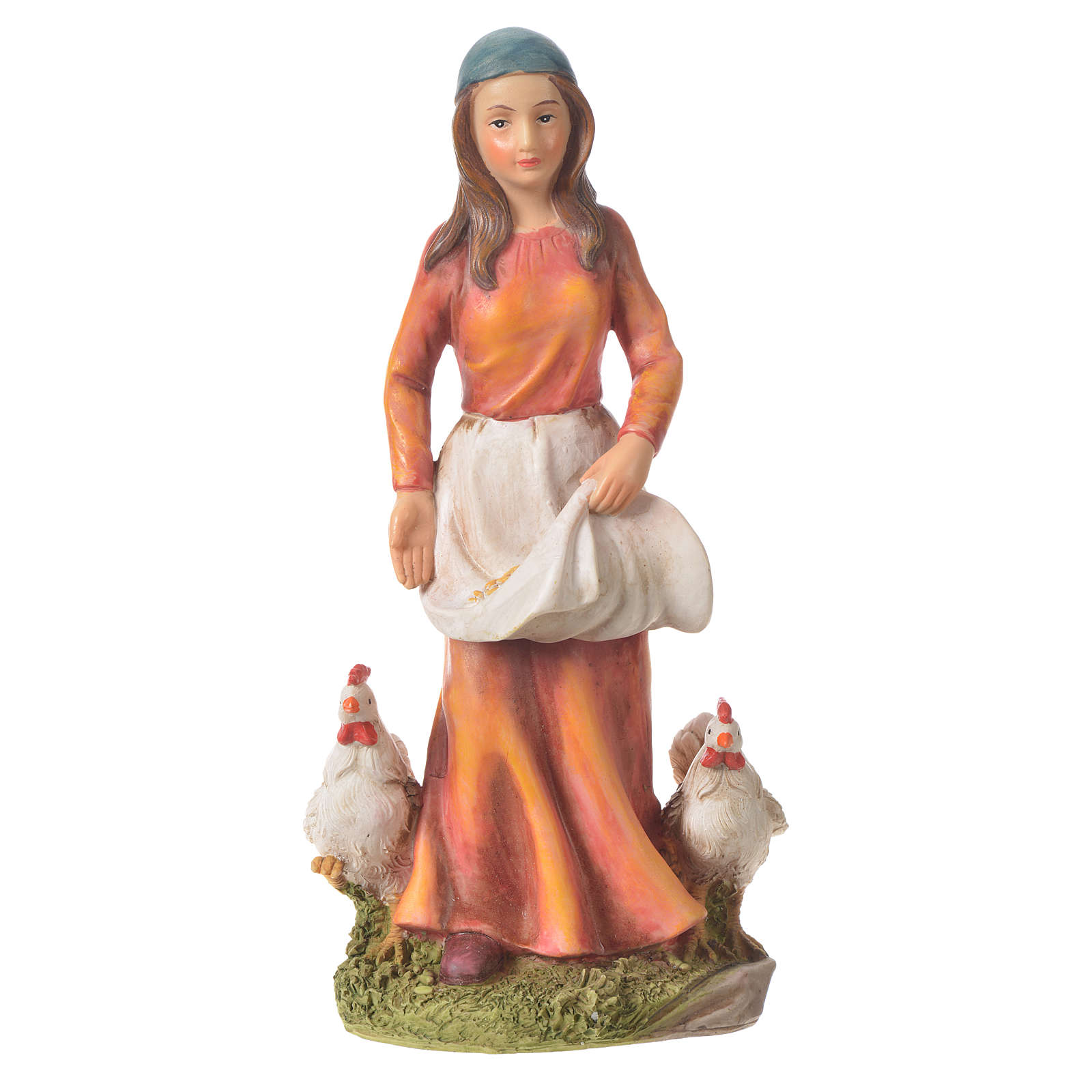 Donna con galline presepe 30 cm resina 3