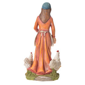 Donna con galline presepe 30 cm resina s3
