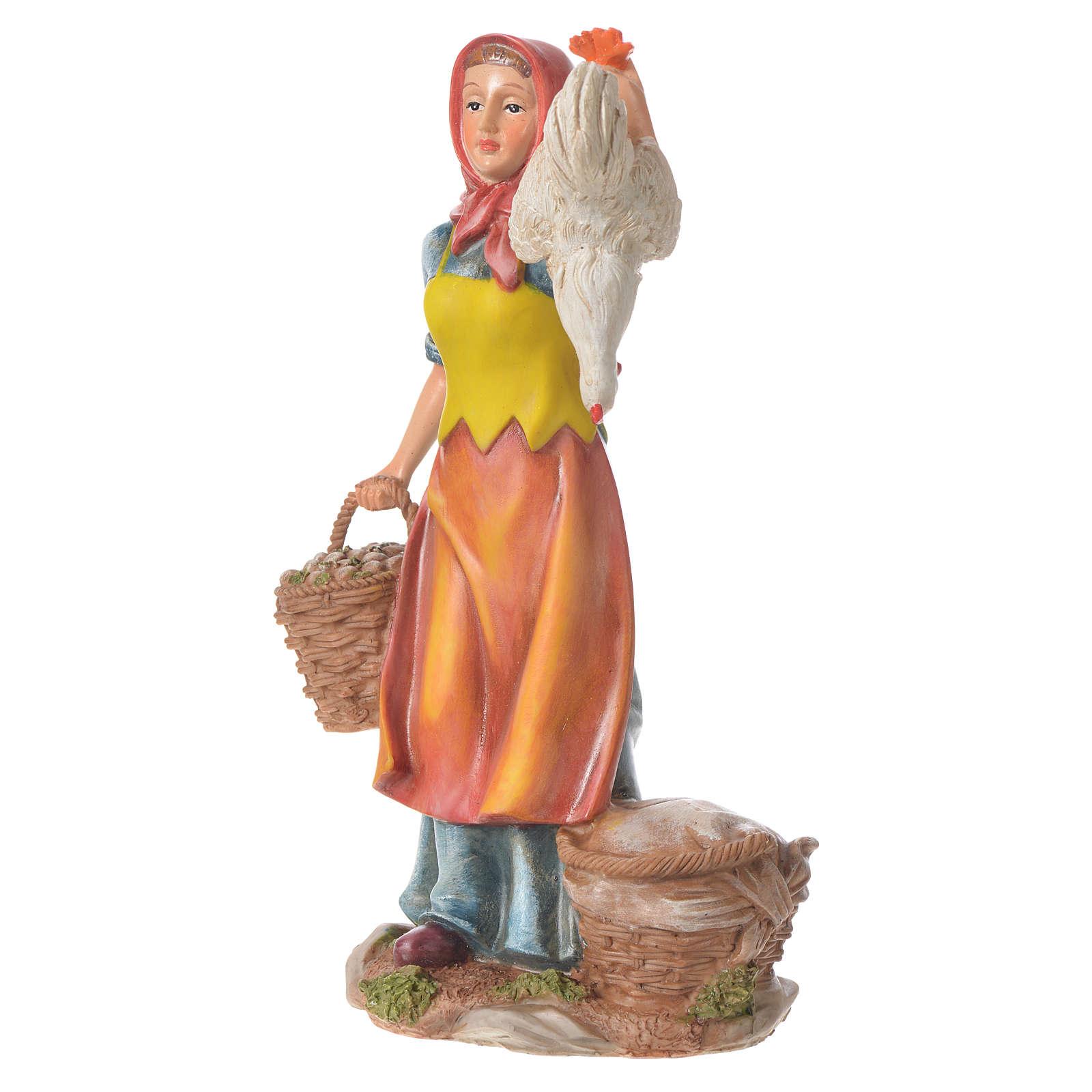 Femme avec poules et panier 30 cm santon résine 3