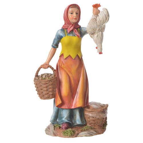 Femme avec poules et panier 30 cm santon résine 1