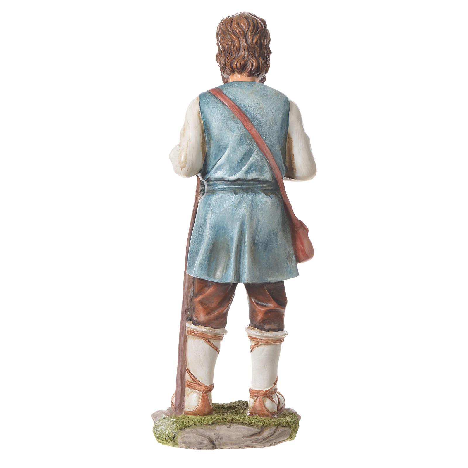 Pastor con bastón para belenes de 30cm, resina 3