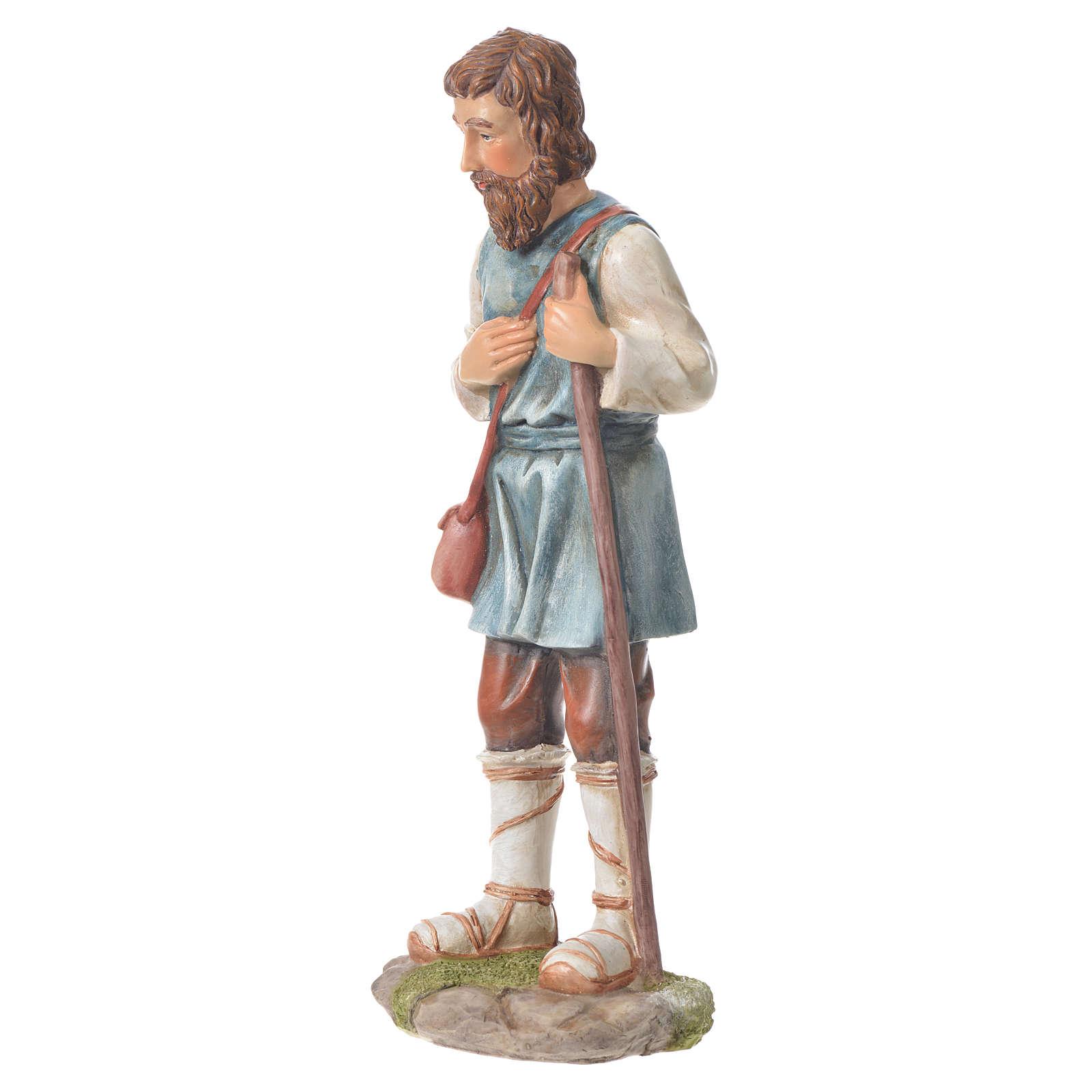 Pastor com bastão presépio 30 cm resina 3