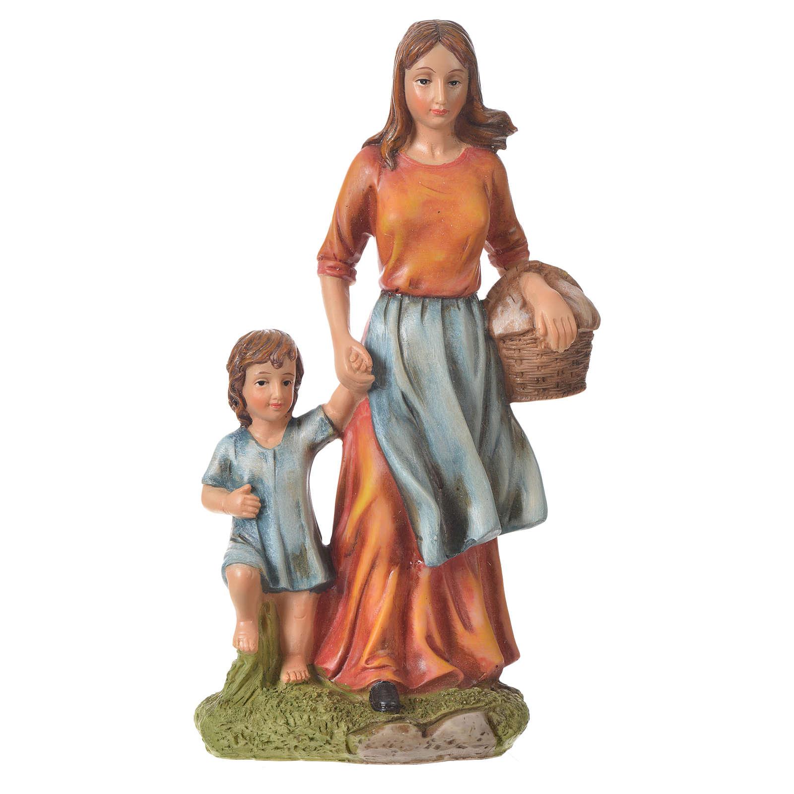 Donna con fanciullo presepe 30 cm resina 3