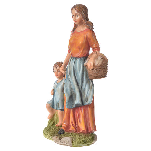 Donna con fanciullo presepe 30 cm resina 2