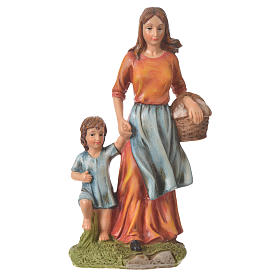 Nativity figurine, woman with little boy, 30cm resin s1