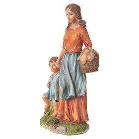 Nativity figurine, woman with little boy, 30cm resin s2