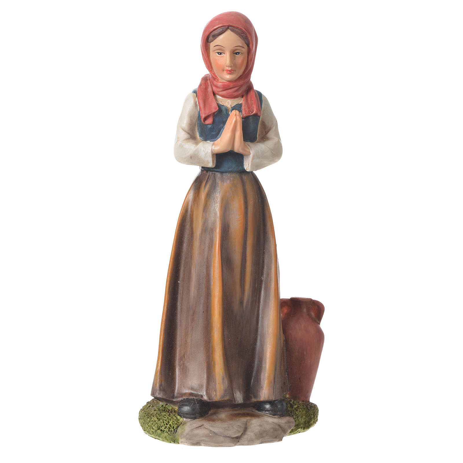 Nativity figurine, shepherdess with joined hands, 30cm resin 3