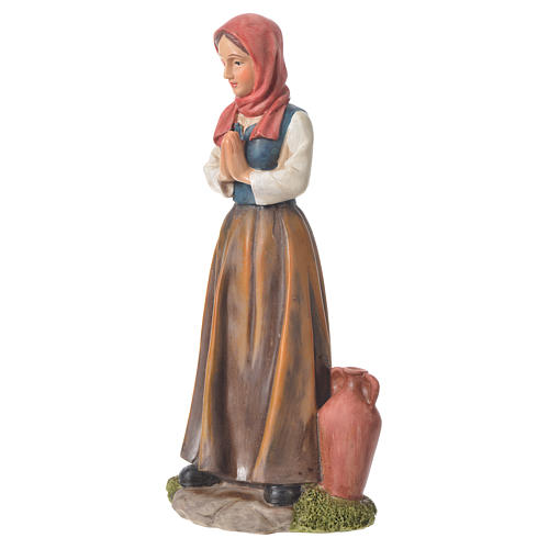 Nativity figurine, shepherdess with joined hands, 30cm resin 2