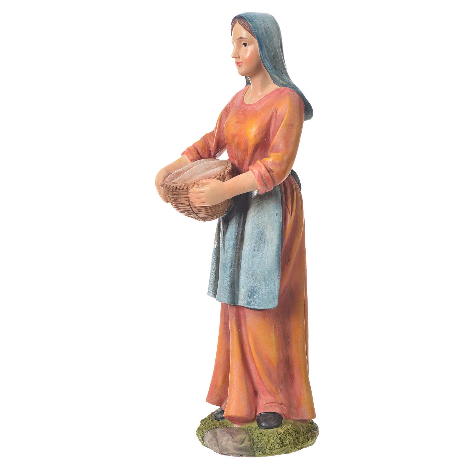 Agricultora con cesta para belenes de 30cm, resina 3