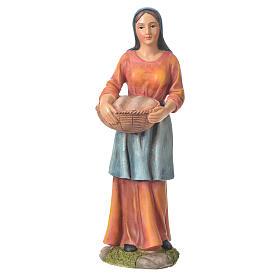 Camponesa com cesta 30 cm presépio resina s1