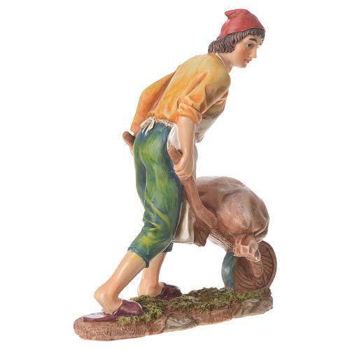 Homme avec brouette 30 cm santon résine 3