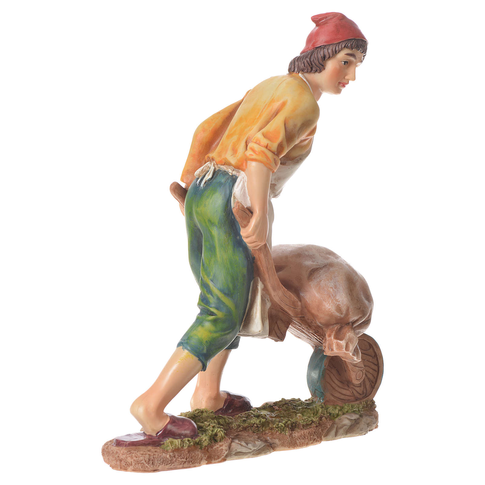 Uomo con carriola presepe 30 cm resina 3