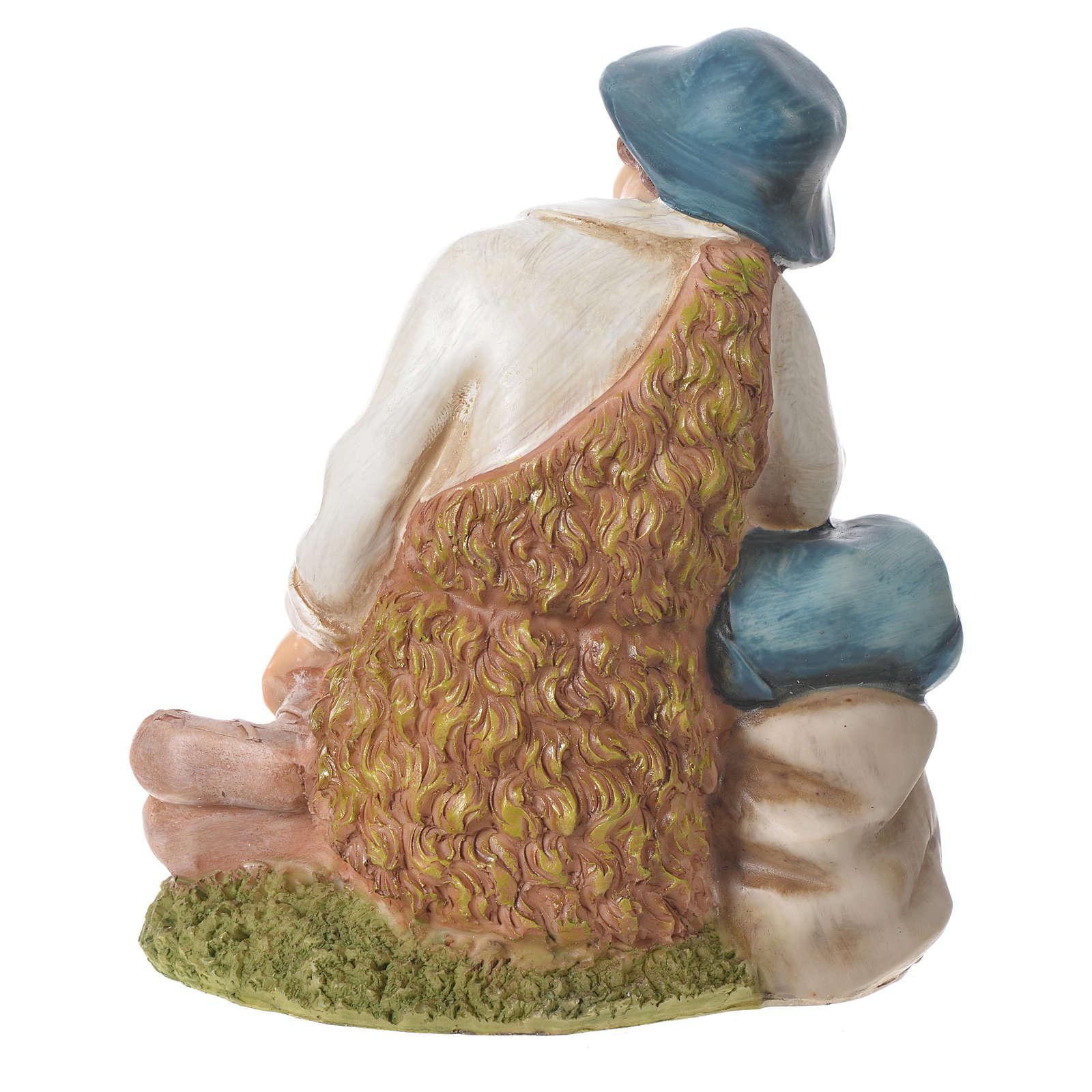 Pastor meditando para belenes de 30cm, resina 3