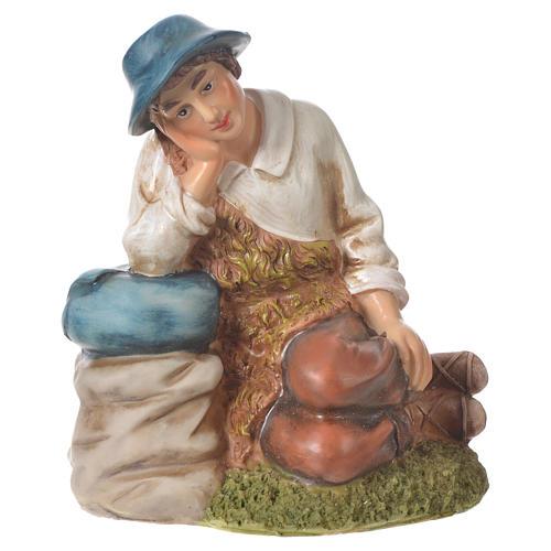 Pastor meditando para belenes de 30cm, resina 1