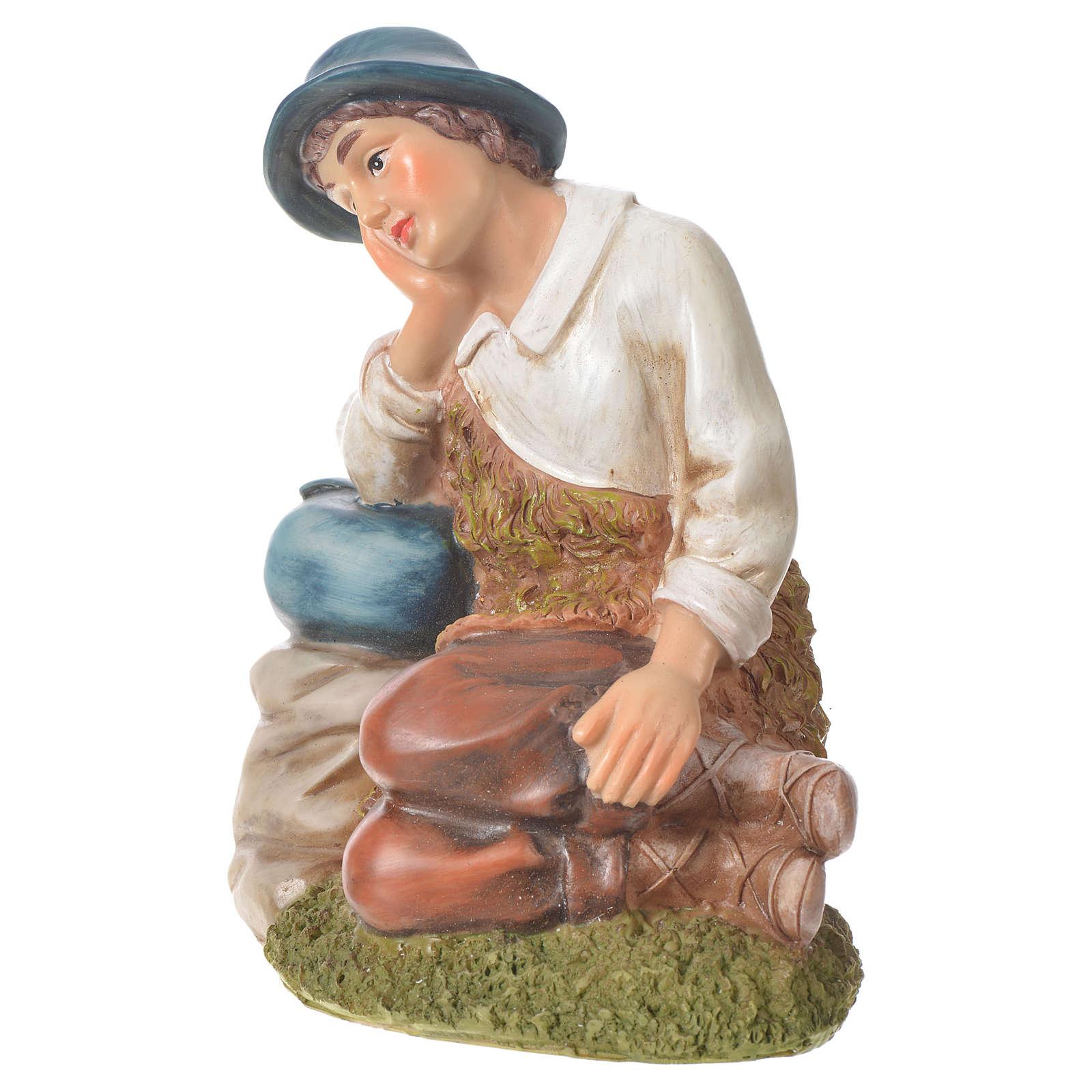 Pastore in meditazione presepe 30 cm resina 3