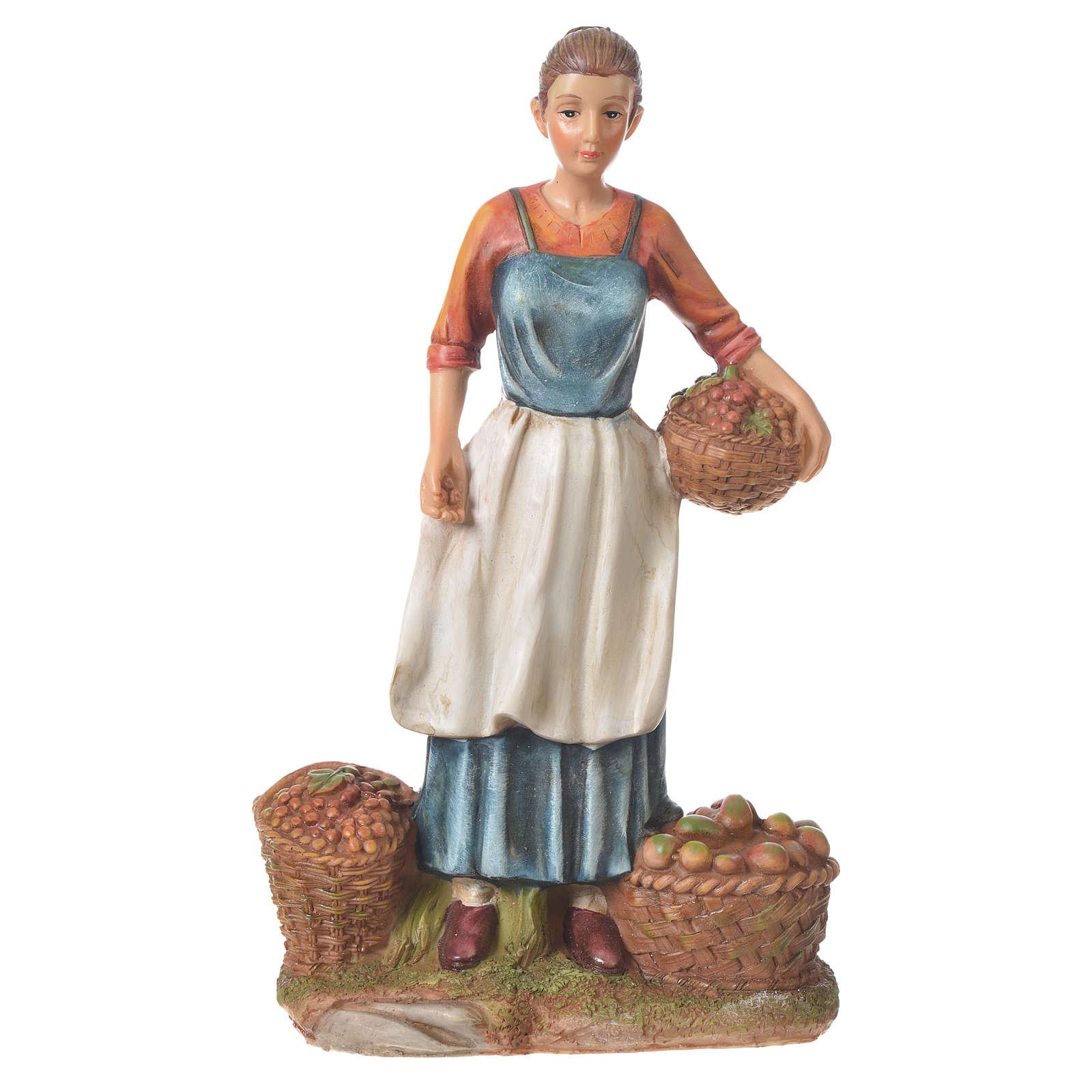 Vendedora de fruta y verdura para belenes de 30cm, resina 3