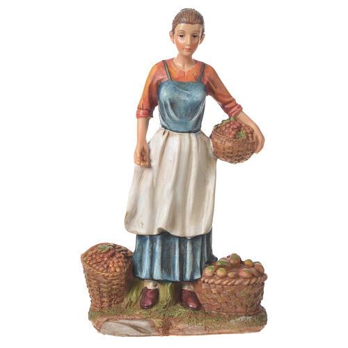 Venditrice frutta e verdura presepe 30 cm resina 1