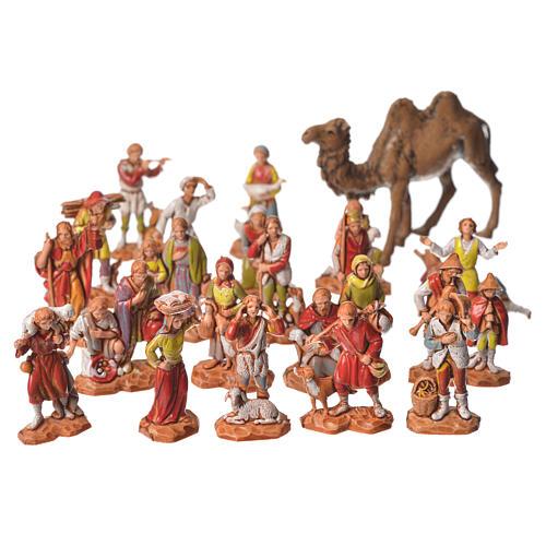 Pastori e cammello 22 pz da 3,5 cm presepe Moranduzzo 1