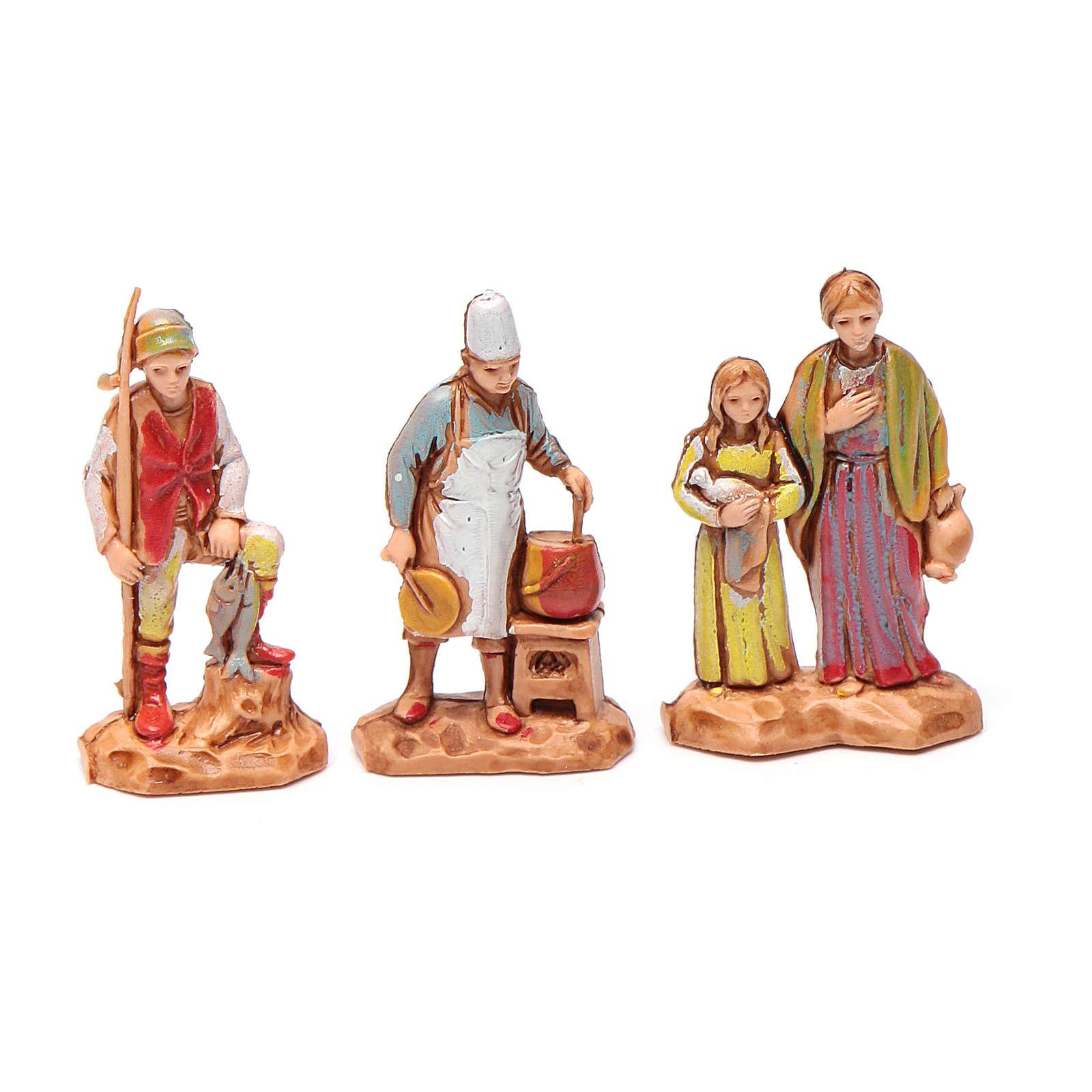Personnages crèche Moranduzzo 3,5cm, lot de 6 santons 4