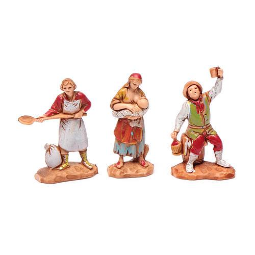 Personnages crèche Moranduzzo 3,5cm, lot de 6 santons 3
