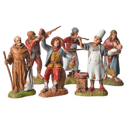 Neapolitan style shepherds, 6 nativity figurines, 6cm Moranduzzo 1