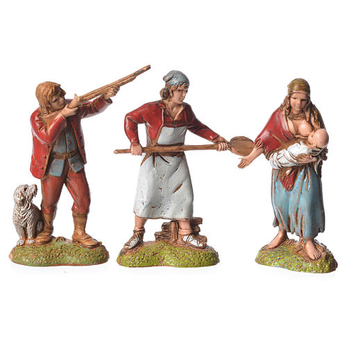 Neapolitan style shepherds, 6 nativity figurines, 6cm Moranduzzo 2