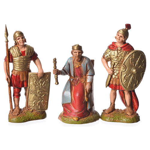 Herod and soldiers, 3 nativity figurines, 6cm Moranduzzo 1