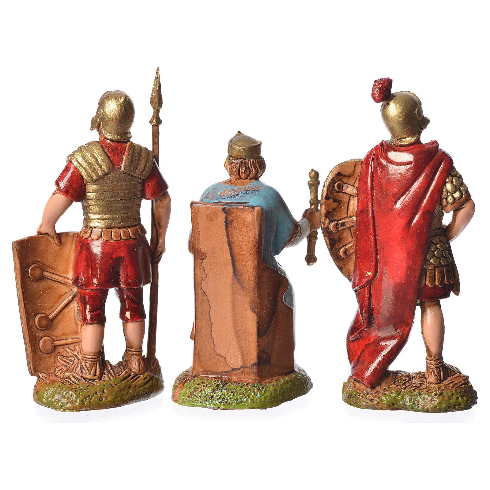 Rey Herodes y soldados 3 figuras 6 cm para belén Moranduzzo 4