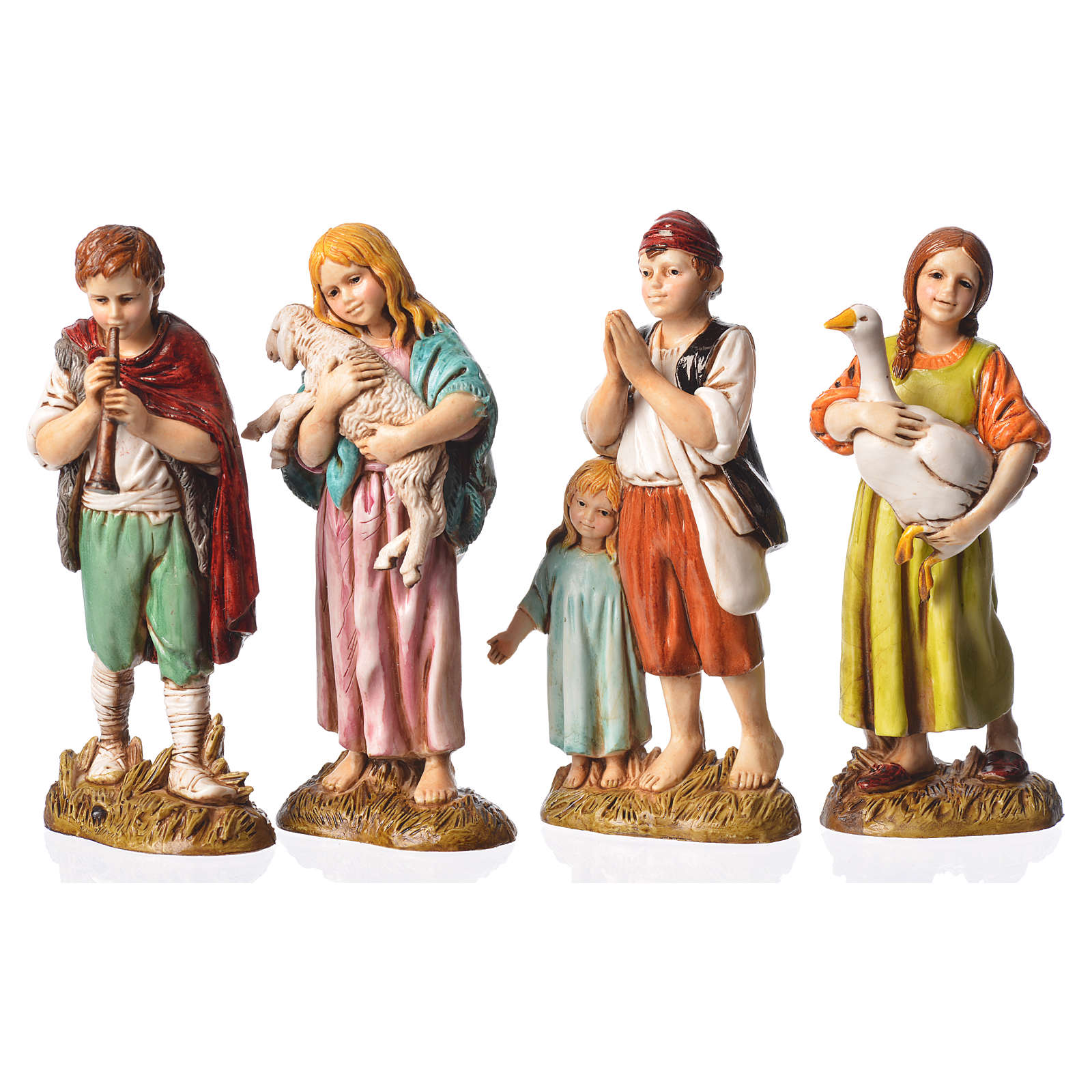 Children with animals, 4 nativity figurines, 12cm Moranduzzo 4