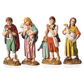 Children with animals, 4 nativity figurines, 12cm Moranduzzo s1
