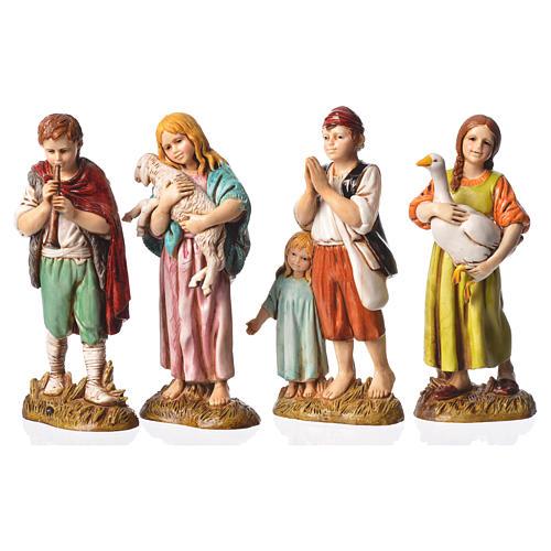 Children with animals, 4 nativity figurines, 12cm Moranduzzo 1