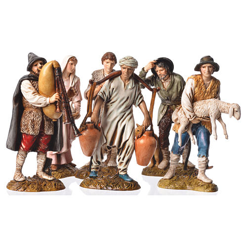 Pastores 6 figuras Belén Moranduzzo 12 cm 1