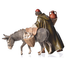 Wayfarer with donkey, nativity figurine, 13cm Moranduzzo s2