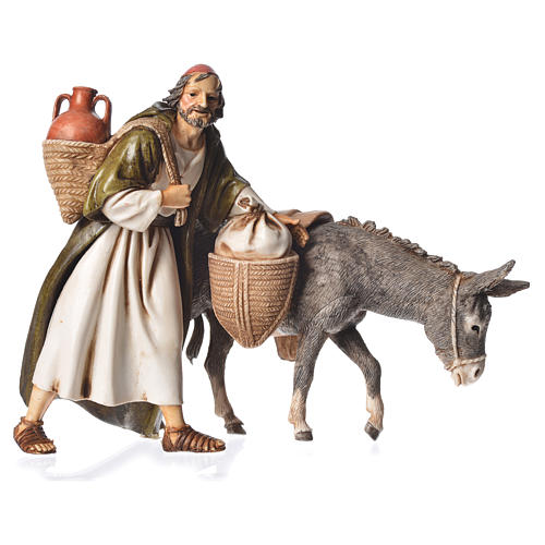 Wayfarer with donkey, nativity figurine, 13cm Moranduzzo 1