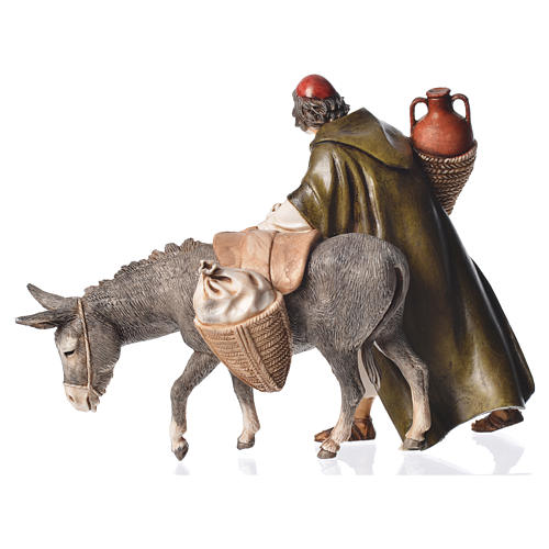 Wayfarer with donkey, nativity figurine, 13cm Moranduzzo 2