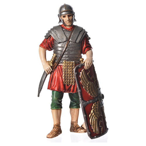 Roman soldier with shield, nativity figurine, 13cm Moranduzzo 1